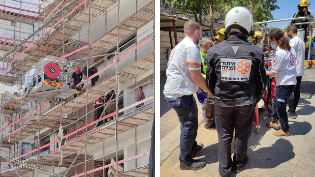 פעולות החילוץ באתר הבנייה בחולון