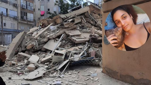 נועה יחזקאל ושרידי הבניין בסרלין