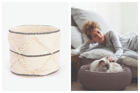 """ללכת עם, להיות בלי: מיטה לחיות מחמד של כתר פלסטיק במראה סרוג, יח""""צ. סל צמר Zara Home, יח""""צ."""