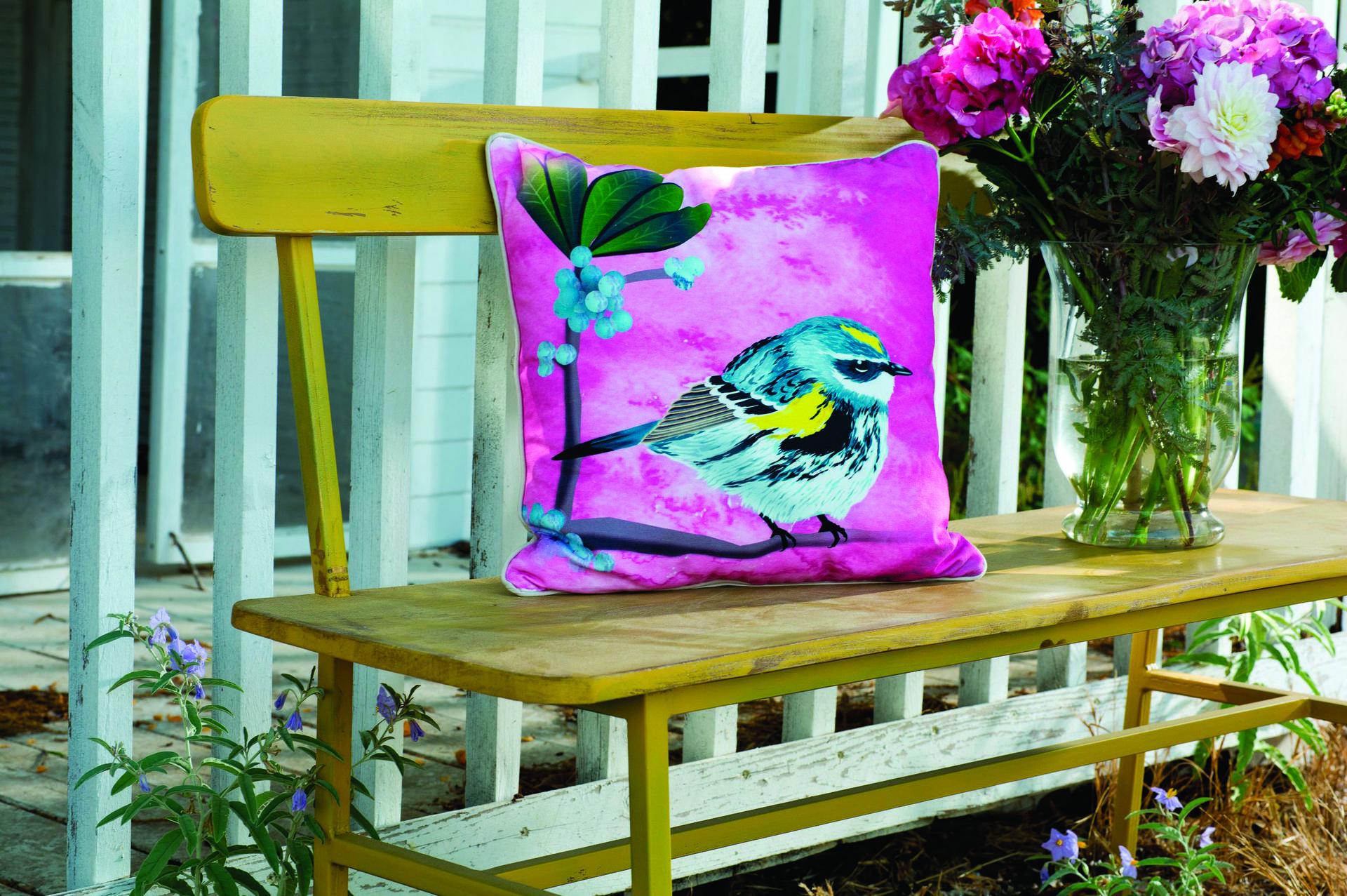 ספסל צבעוני עשוי מעץ בשילוב ברזל, תומיק. צילום: בועז לביא, סטיילינג: דיאנה לינדר